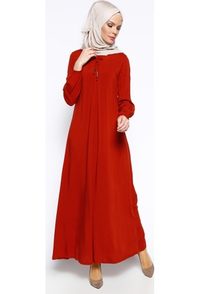 Pile Detaylı Elbise - Kiremit - Ginezza