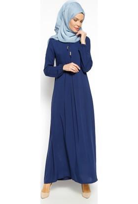 Pile Detaylı Elbise - Lacivert - Ginezza