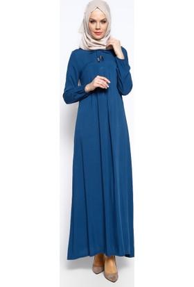 Pile Detaylı Elbise - Petrol - Ginezza