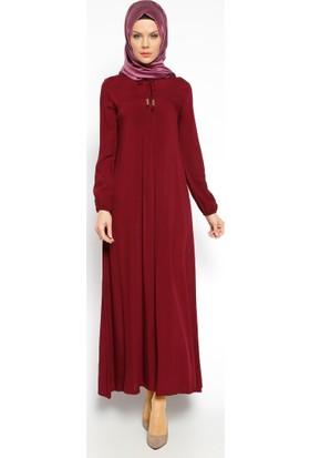 Pile Detaylı Elbise - Bordo - Ginezza