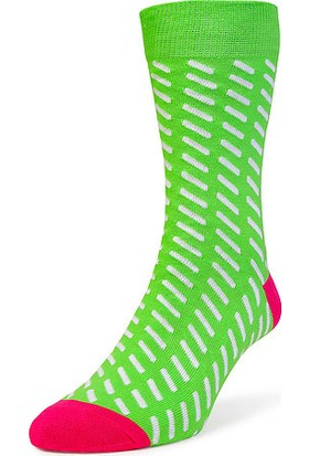 Bryt Yeşil Beyaz Çizgili Çorap