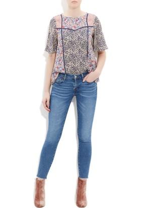 Mavi Kadın Baskılı Lacivert Bluz