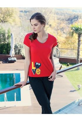 Mel Bee Love Baskılı Kadın Pijama Takımı Kırmızı MBP23335-1