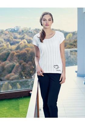 Mel Bee Kalp Baskılı Kadın Pijama Takımı Beyaz MBP23336-1