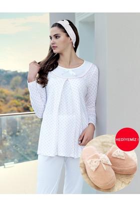 Şahinler Emzirme Fonksiyonlu Lohusa Pijama Takımı Pudra MBP23414-1