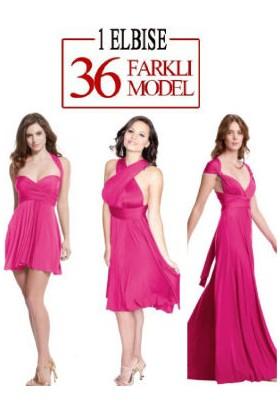 TveT Sheland Tek Elbise 36 Farklı Model - Fuşya