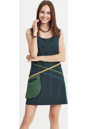 Los Banditos Kadın Yeşil Patch Elbise E11