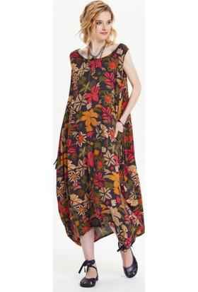 Los Banditos Kadın Çiçekli Büyük Düğmeli Elbise E48