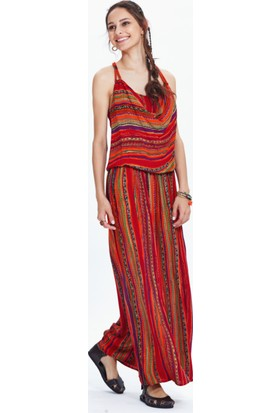 Los Banditos Kadın Turuncu Romantika Elbise E60