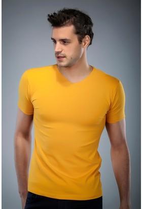 Philip Loren Sarı V Yaka T-Shirt (WPO04W201W001)