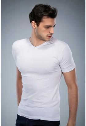 Philip Loren Beyaz V Yaka T-Shirt (WPO04W201W002)