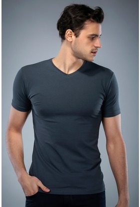 Philip Loren Füme V Yaka T-Shirt (WPO04W201W005)