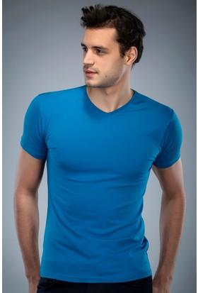 Philip Loren Petrol V Yaka T-Shirt (WPO04W201W006)