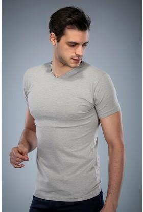 Philip Loren Gri Melanj V Yaka T-Shirt (WPO04W201W010)