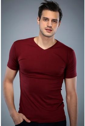Philip Loren Bordo V Yaka T-Shirt (WPO04W201W011)