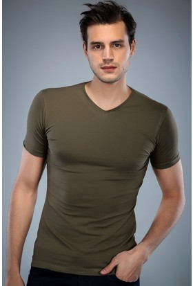 Philip Loren Haki Yeşil V Yaka T-Shirt (WPO04W201W013)