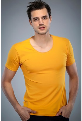 Philip Loren Sarı Havuz Yaka T-Shirt (WPO04W320W003)