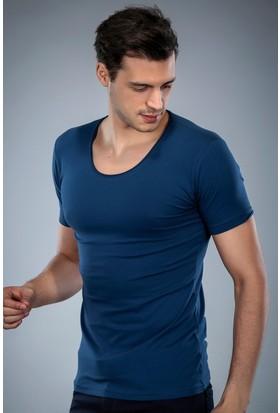 Philip Loren İndigo Havuz Yaka T-Shirt (WPO04W320W004)