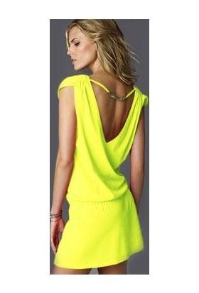 Toptancı Kapında Likralı Plaj Elbisesi - Sarı