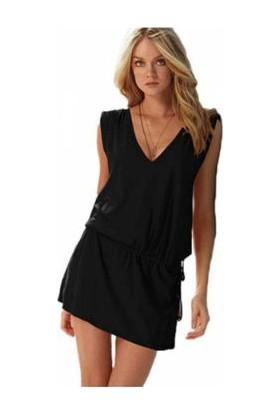 Toptancı Kapında Likralı Plaj Elbisesi Siyah