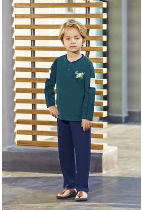RolyPoly Erkek Çocuk Pijama Takımı Petrol