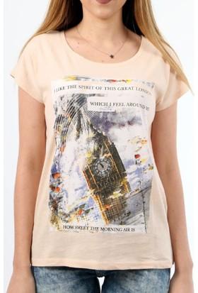 Loft Baskılı Bayan T-Shirt Pudra 2013826