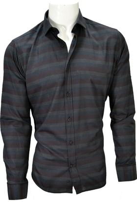 Megaldi Erkek Gömlek Pamuk Empirme Siyah-Bordo Slim Fit 30257
