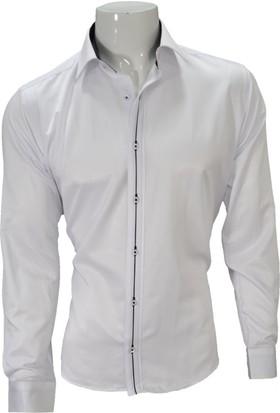 Megaldi Erkek Gömlek Beyaz Slim Fit 30261