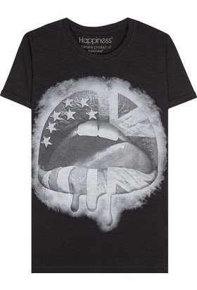 Happiness Mouth Flag Black T-Shirt16029