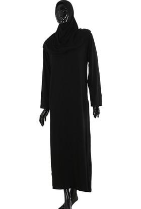 Vavmol Tek Parça Pratik Namaz Elbisesi Kendinden Örtülü Siyah