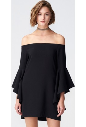Dilvin 9665 Düşük Omuz Kolu Volanlı Elbise Siyah