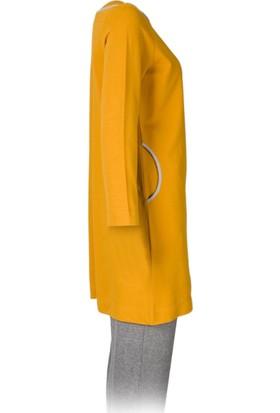 Voimoda Yaka Cepler Kontrast Biyeli Uzun Kol Tunik