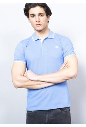 Adze Erkek Mavi Polo Yaka Pike T-Shirt