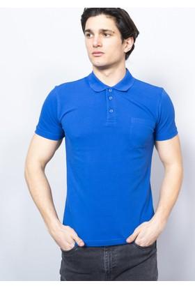 Adze Erkek Saks Polo Yaka Pike T-Shirt