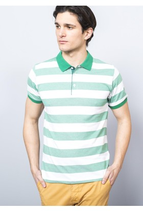 Adze Erkek Yeşil - Beyaz Polo Yaka Ringelli T-Shirt