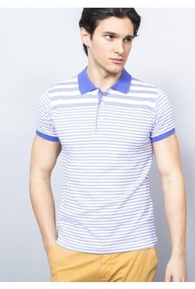 Adze Erkek Mavi Polo Yaka Ringelli T-Shirt