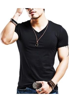 Nurima Erkek V Yaka Basic Fit Tişört Siyah