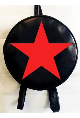 Köstebek Kızıl Yıldız Yuvarlak Sırt Çantası