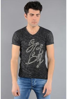 Rodin Hills Siyah Erkek T-Shirt V. Yaka İst. Baskılı