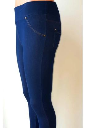 Vintage Tekstil Kot Görünümlü Tayt Koyu Mavi