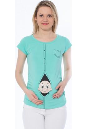 Gör&Sin Casual Hırkadan Çıkan Bebek Baskılı Kısa Kol Hamile T-Shirt Mint