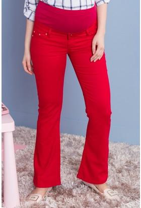 Gör&Sin Casual Hamile Pamuk Pantolon Kırmızı
