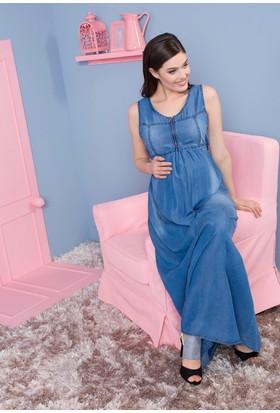 Gör&Sin Casual Hamile Fermuar Detaylı Tensel Elbise Mavi