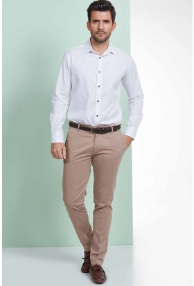 Hemington Desenli Beyaz Pamuk Gömlek
