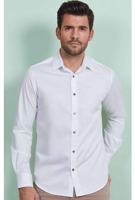 Hemington Dokulu Beyaz Pamuk Gömlek
