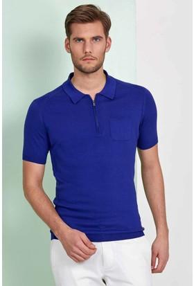 Hemington Mavi Polo Yaka Fermuarlı Triko T-Shirt