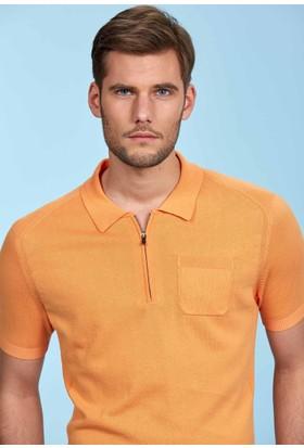 Hemington Turuncu Polo Yaka Fermuarlı Triko T-Shirt