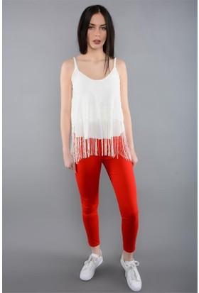 Rodin Hills Kırmızı Kadın Pantolon Gabardin Yüksek Bel 1741