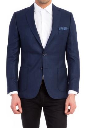 Kiğılı Bambu Ceket Koyu Mavi