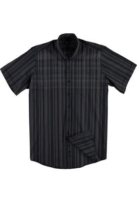 Kiğılı Kısa Kol Klasik Gömlek Antrasit